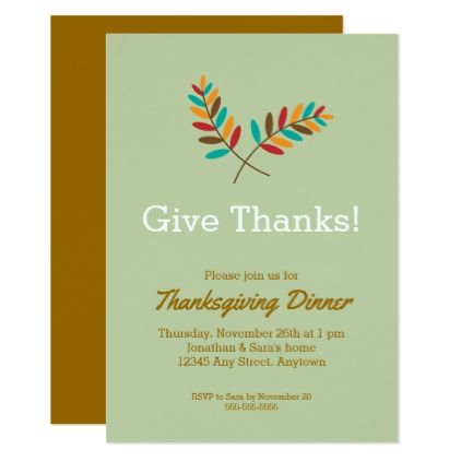 Fall Leaves Give Thanks Thanksgiving Dinner Card - minimal gifts - dinner card template