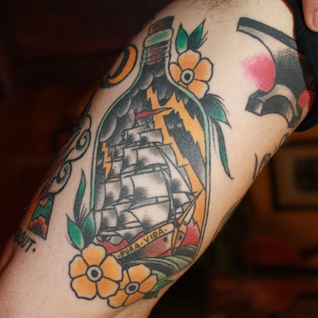 Old School Tattoo - Ship in the bottle #tattoo ...Old School Battleship Tattoos