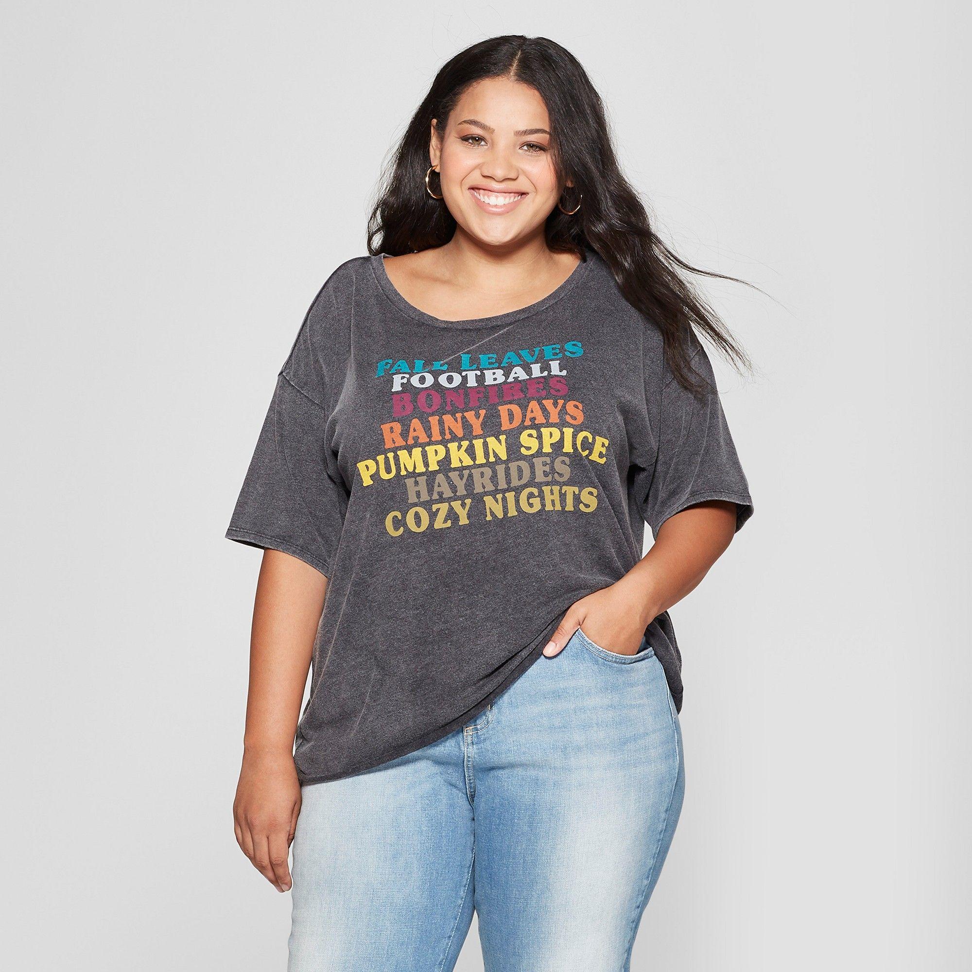 fadaac256288c4 Women's Plus Size Short Sleeve Fall Favorites Graphic T-Shirt - Fifth Sun  (Juniors') Black 2X