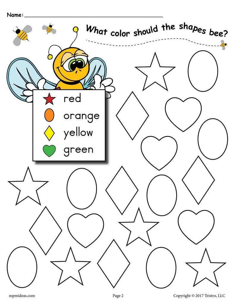 6 Bee Themed Shapes Coloring Pages | Shape coloring pages ...