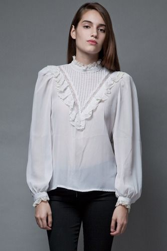 c9ee9a2ac6217 vintage 70s sheer white blouse victorian inspired bib lace top M ...
