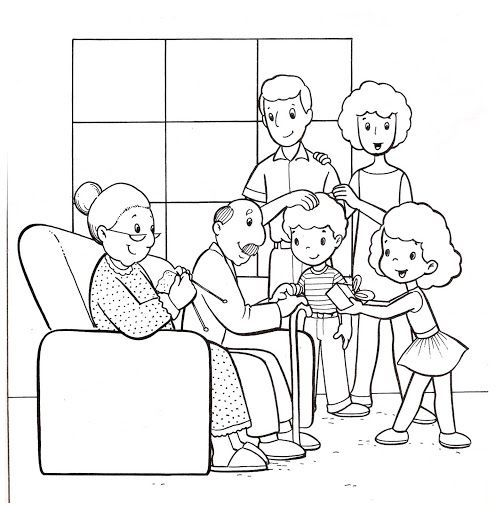 Fichas De La Familia En Ingles Para Colorear Family Coloring Pages Family Drawing Family Coloring