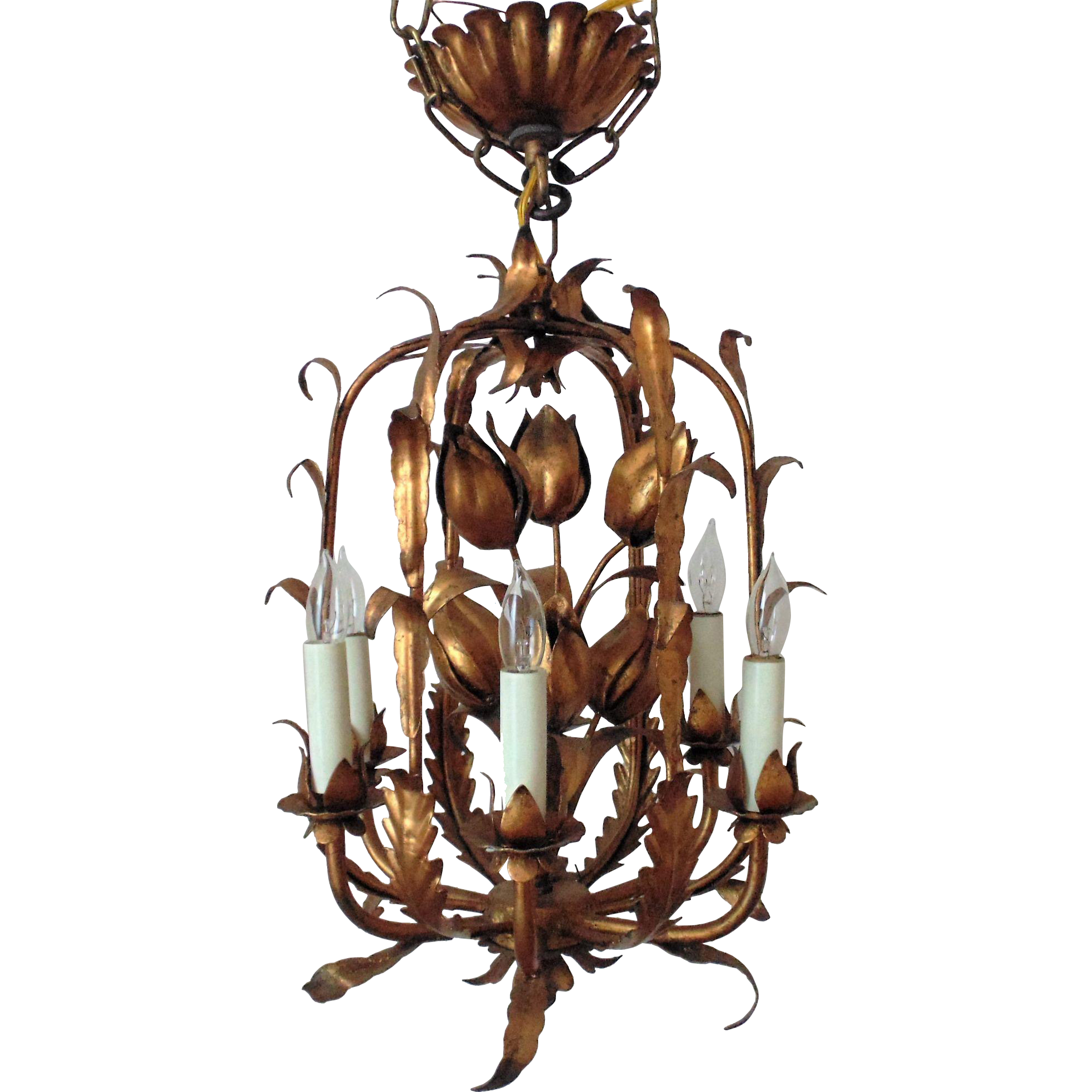 Italian Tole Chandelier Gilt Metal Tulip Birdcage Bird Cage - Italian light fixtures