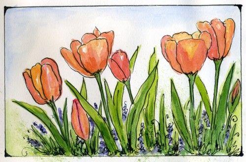 Resultado de imagen de watercolor tulips