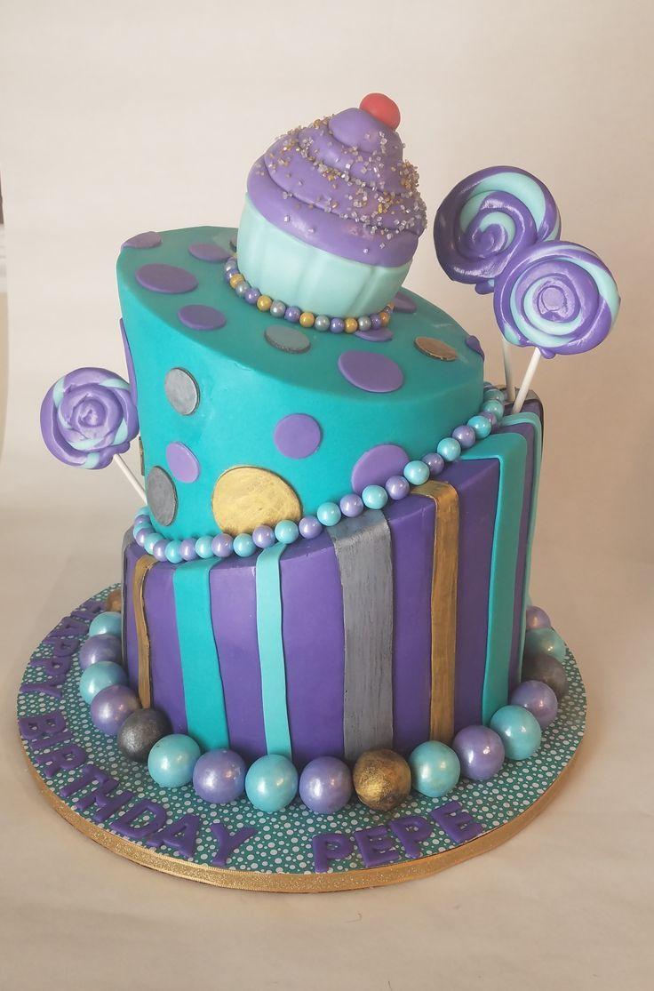 Topsy Turvy Cake, aqua, purple, gold and silver
