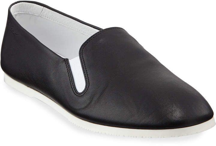 THE ROW Grace Leather Slip On Flat Loafers | Leather slip