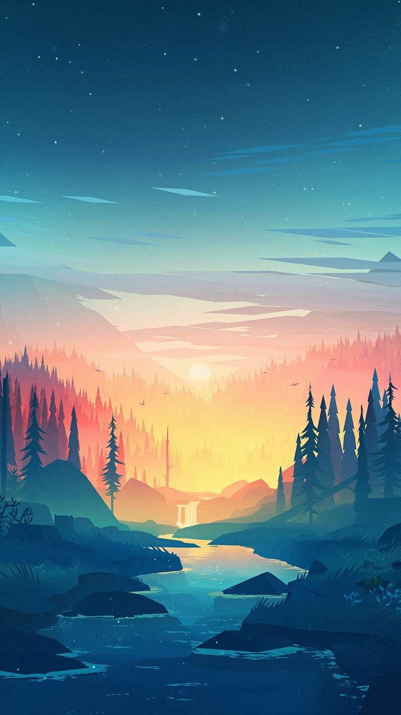 Nature Sunset Artwork Iphone Wallpaper Risunki Pejzazhej Kompyuternye Illyustracii Pejzazhi
