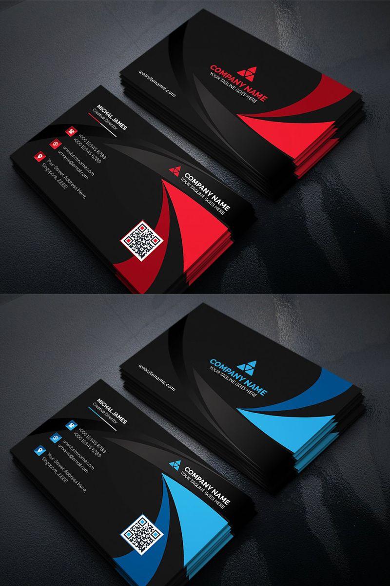 Curvy Dark Business Card Corporate Identity Template 96143 Business Cards Corporate Identity Graphic Design Business Card Company Business Cards