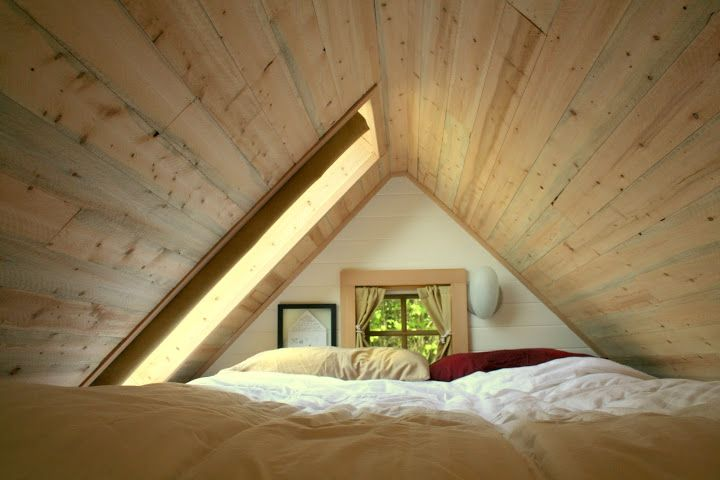 Ove The Skylight In This Tiny House Loft To Connect With Us And Our Community Of People From Australia And Arou With Images Tiny House Loft Attic Bed Attic Renovation