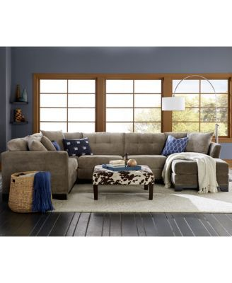 Elliot Fabric Microfiber 2-Pc. Chaise Sectional Sofa  sc 1 st  Pinterest : elliot sectional sofa 3 piece chaise - Sectionals, Sofas & Couches