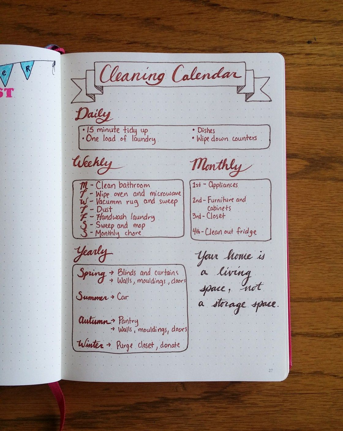 Creating a Cleaning Calendar in the Bullet Journal. I like the way this is laid out.