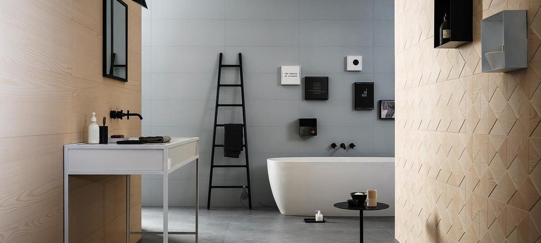 Nordic Wood - Gres porcellanato con decori a rombi bathroom