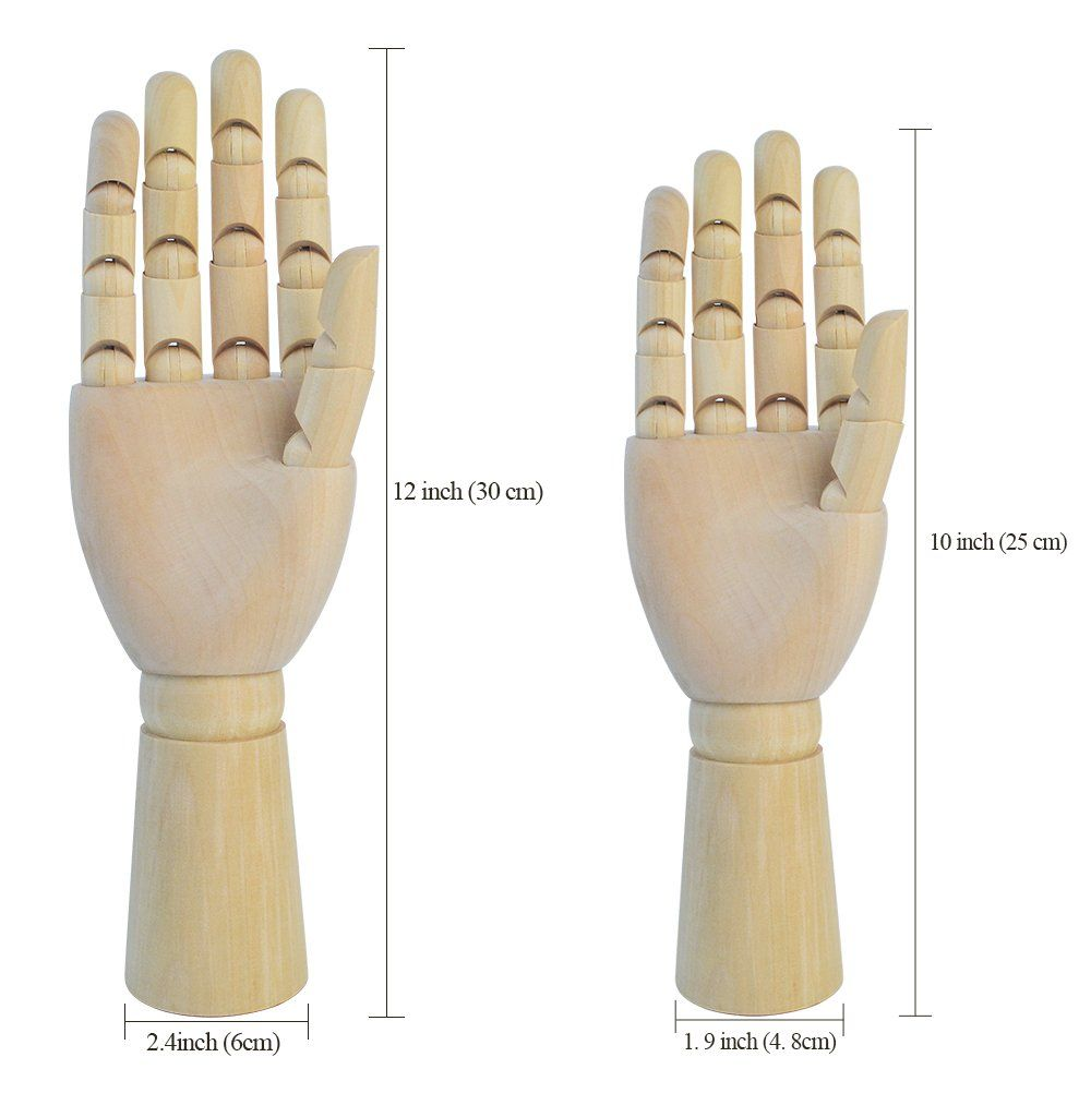Yookat Wood Art Mannequin Hand Model 10 inch Wooden Sectioned Flexible Fingers Manikin Hand Figure Random Left or Right Hand Perfect for Drawing Sketch Art Mannequin etc. Female Hand