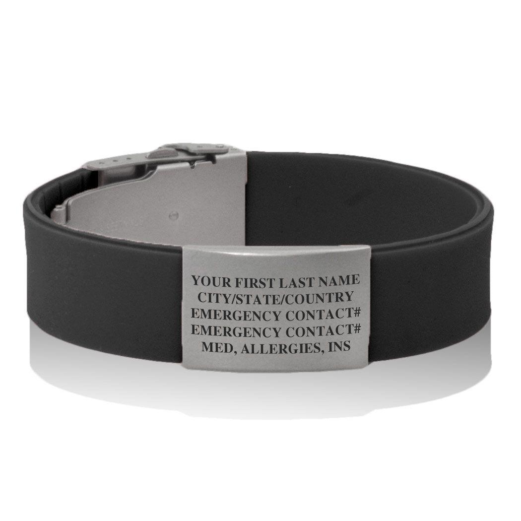 Premier Silicone Idmeband Bracelet Medical Id Black