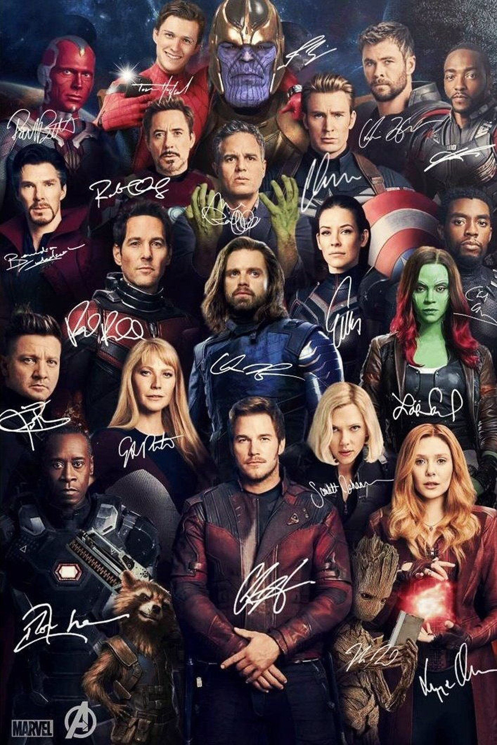 Avengers Signature Movie Silk Poster Wall Painting 24x36inch Marvel Superheroes Marvel Posters Marvel