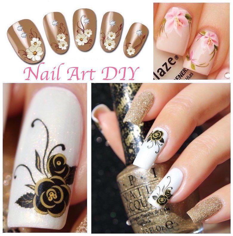 Nail Art Water Decals Transfer Stickers Fiori Farfalle Decorazione Unghie Nail Art Fai Da Te Unghie Decorazioni Unghie