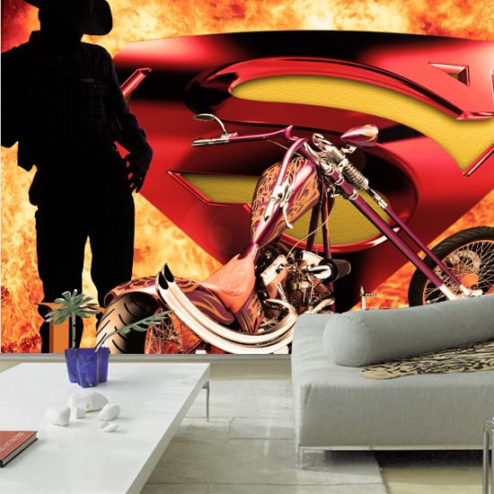 Free Shipping Cowboy Flame Wallpaper Cafe Lounge Bar Bedroom Living Room Porch Restaurant Background Motorcycle