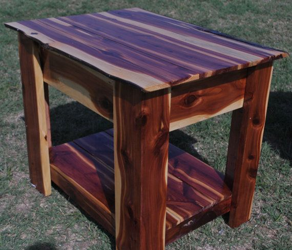 Handmade Red Cedar End Table With Hidden Gun Storage Decorating
