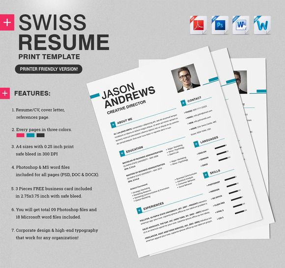 Swiss Resume Template from i.pinimg.com