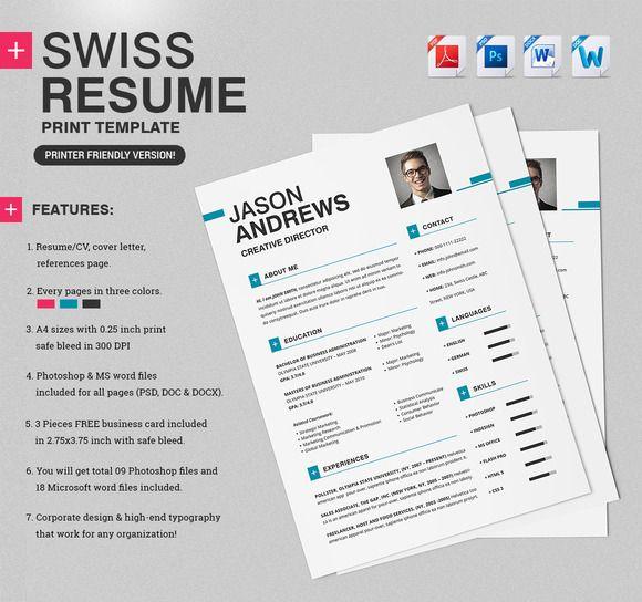 Swiss Resume Cv Print Templates Magazine Template Resume Cv