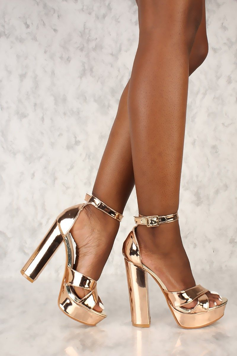 67e3a6fc41d3f Sexy Rose Gold Criss Cross Open Toe Platform Pump Chunky High Metallic Faux  Leather