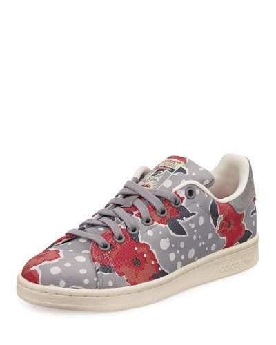 x3cj0 adidas stan smith floreale, scarpa, solido grigio / unità di rosa