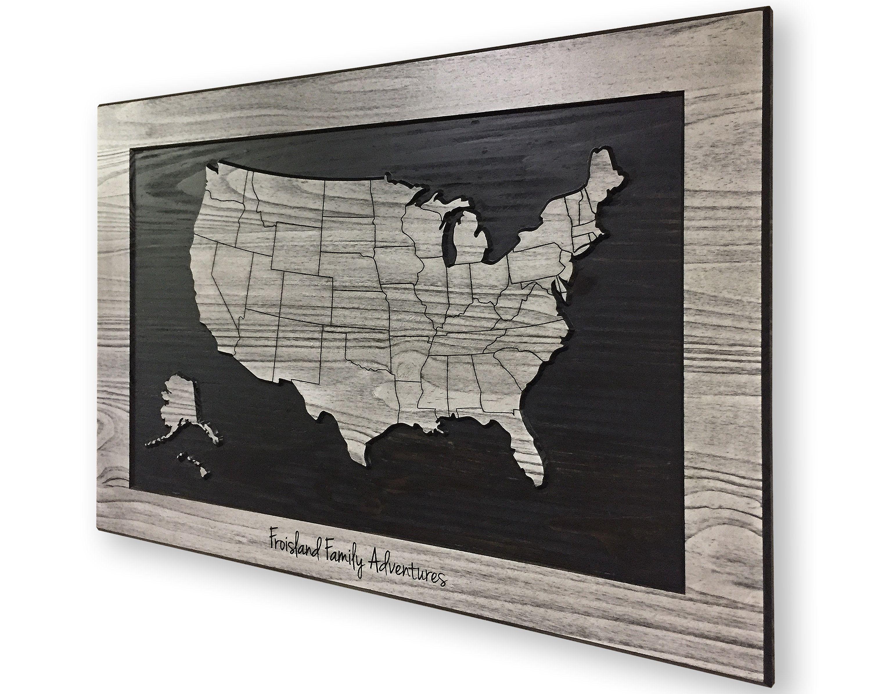 Customize Us Map.Push Pin Us Map Family Name Sign Anniversary Gift Idea Customize