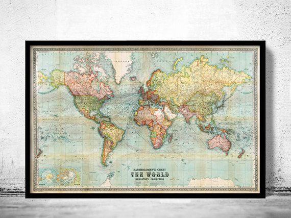Bella proiezione di Mercatore del mondo mappa Vintage Atlas 1914