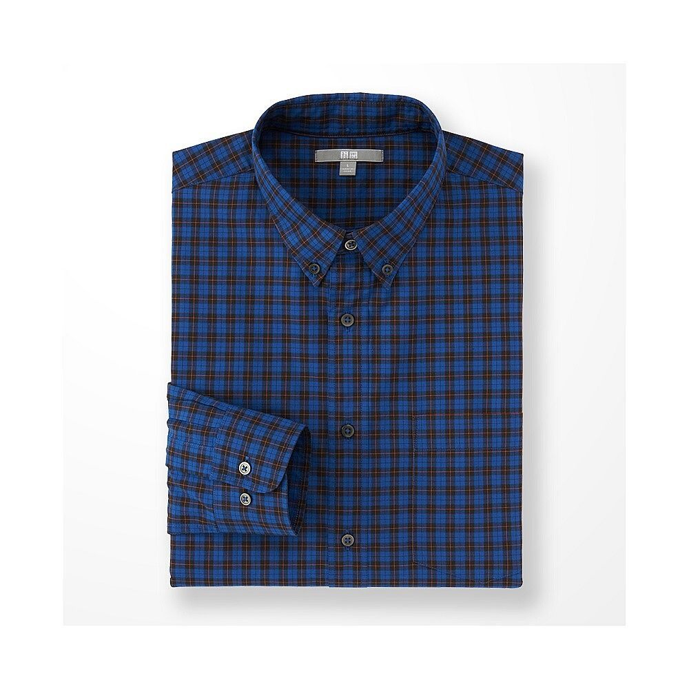 54682020d1c2 MEN Extra Fine Cotton Broadcloth Check Long Sleeve Shirt | Menswear ...