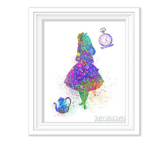 Alice In Wonderland Art Print Watercolor Art Alice In Wonderland Painting  Wonderland Nursery Art Home Decor Childrenu0027s Wall Art Gift(No.152)