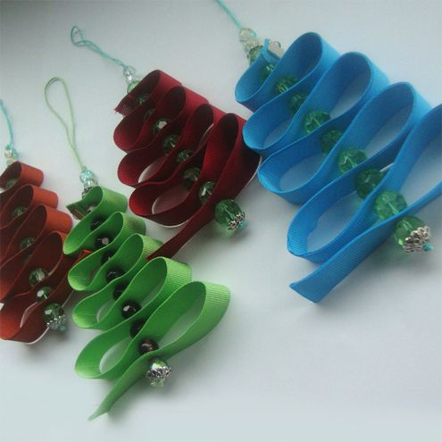 Christmas Tree Decoration  These Christmas decorations have been made with glass crystal beads & grosgrain ribbon & would add sparkle to any tree or window.