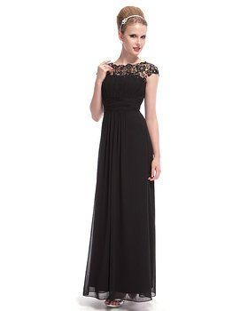 Ever Pretty Womens Lace Neckline Open Back Ruched Long Evening Gown 4 US Black