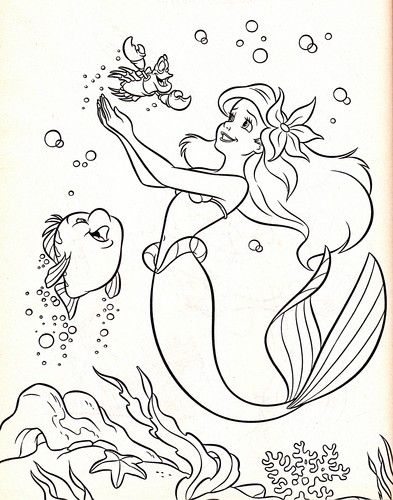 Walt Disney Coloring Pages - Flounder, Sebastian & Princess ...