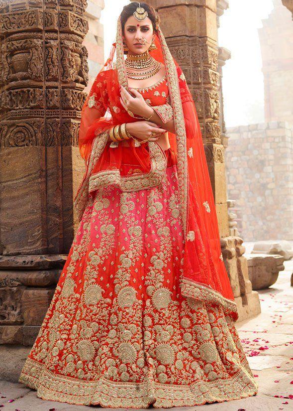 2412ba1de0af5 Rust Orange and Cherry Pink Bridal Lehenga Choli