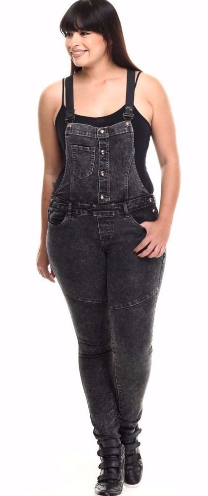 Plus Size Denim Overalls Jumpsuit Skinny Leg Black Gray Suspenders