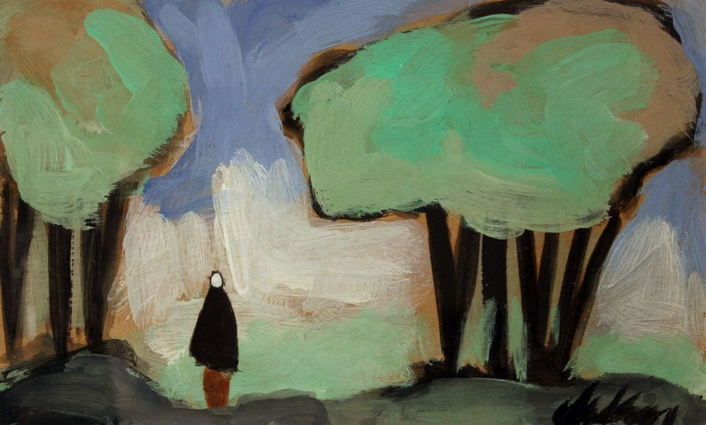 Markey Robinson (Ireland 1918-1999)Figure in the Forest mixed media 7 x 12 in.