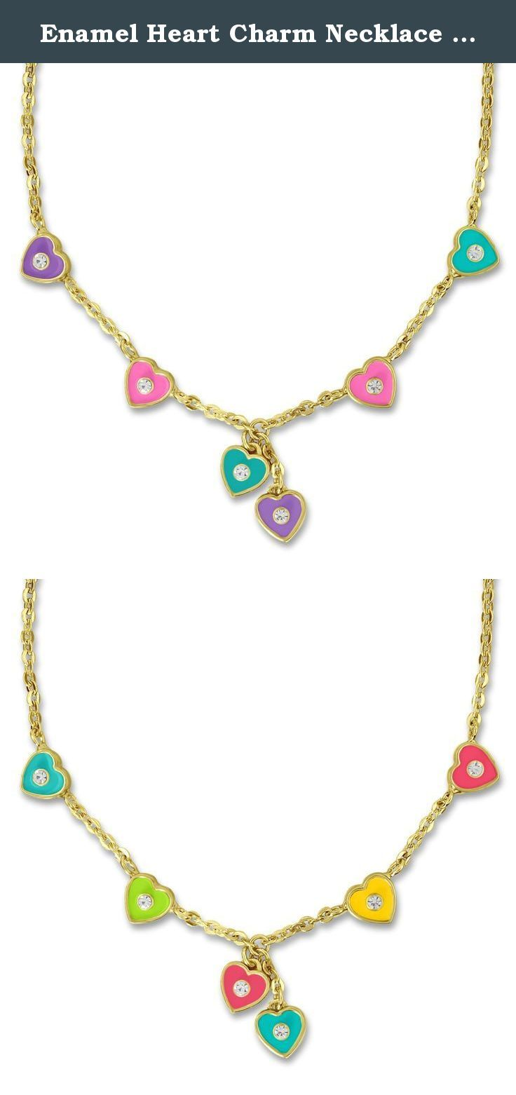 Enamel heart charm necklace linked chain with crystals kt gold