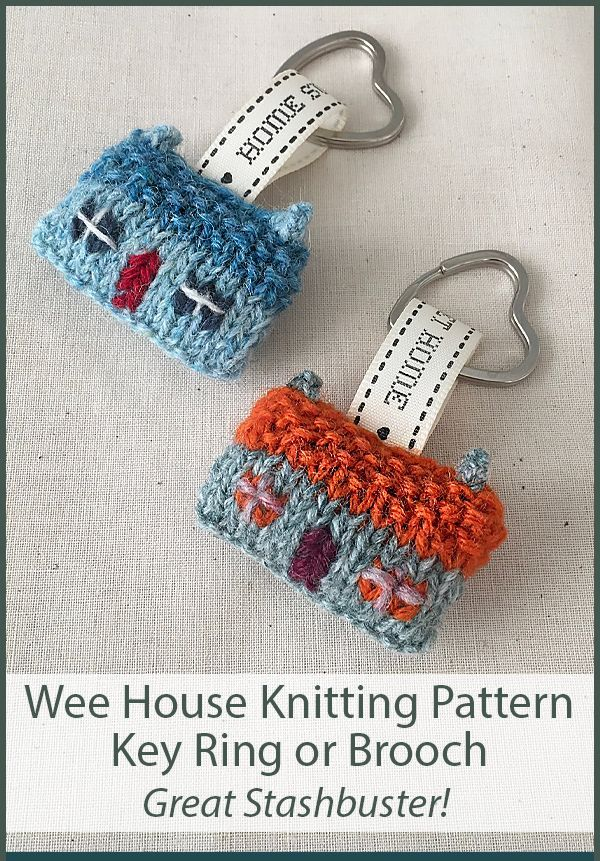 Knitting Pattern for Wee House Brooch and Key Ring for Stashbusting and Scrap Ya…