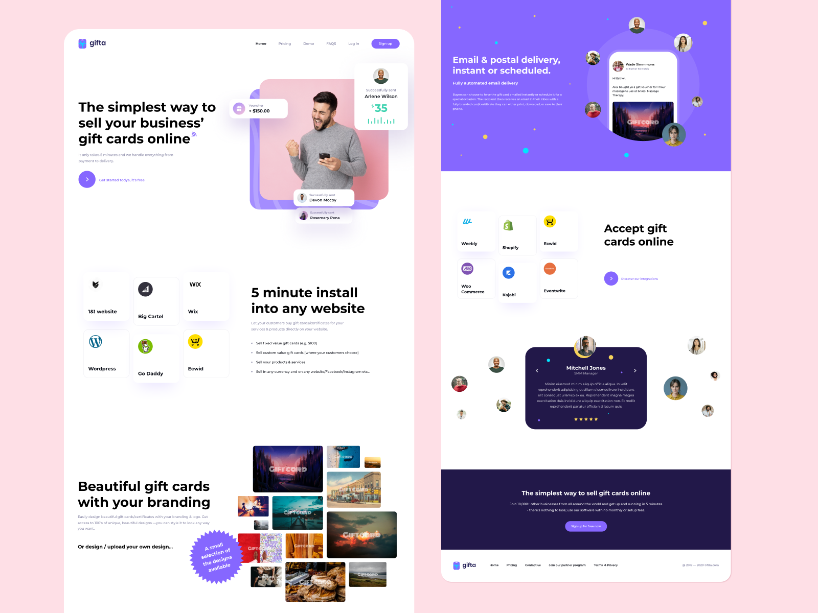 Gifta Landing Page In 2020 Landing Page Sell Your Business Job Opening