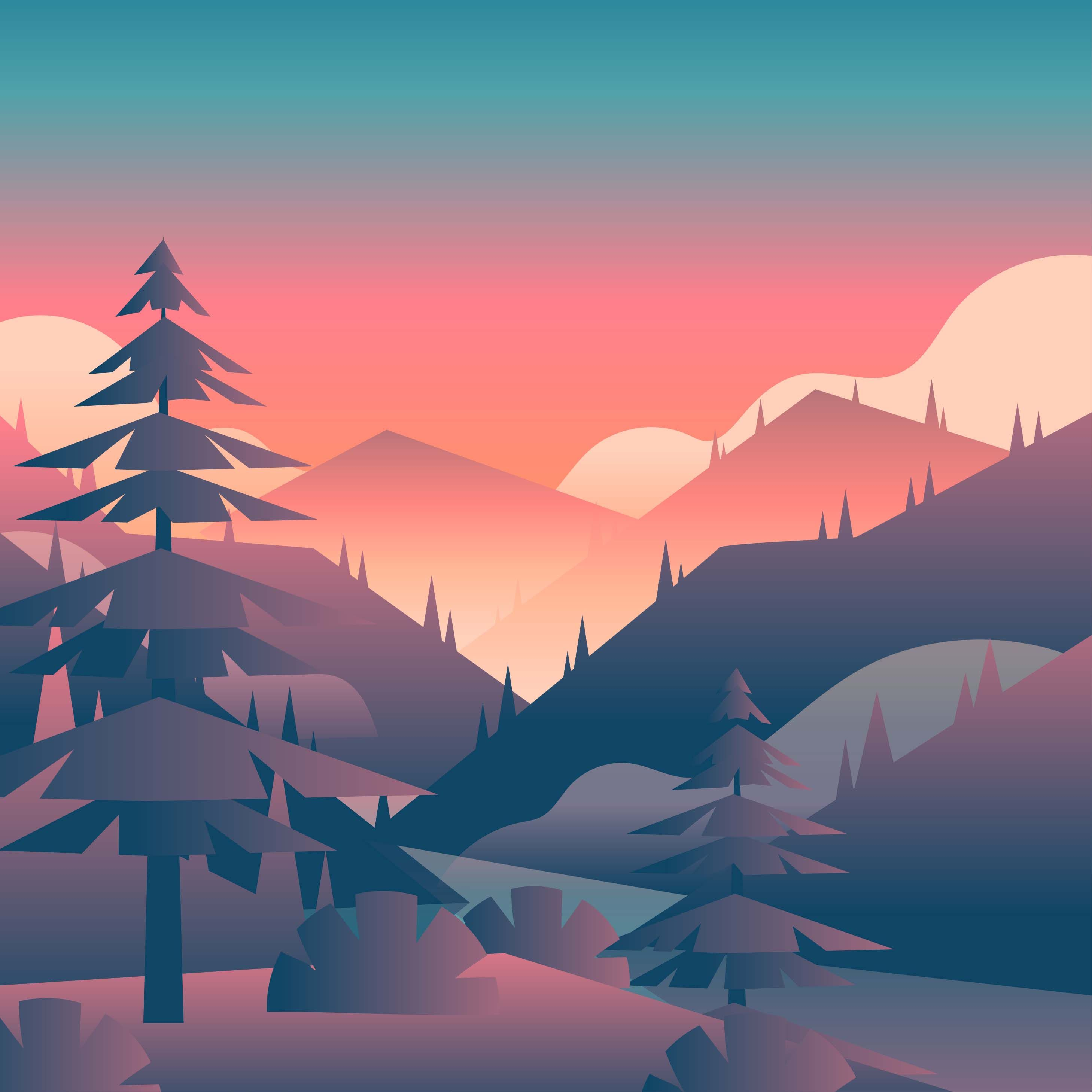 Mountain Sunset Landscape First Person View Vector Choose From Thousands Of Free Vectors Mountain Sunset Landscapes Mountain Sunset Painting Sunset Landscape