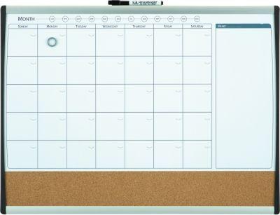 2 W X 1 5 H Magnetic Cork Dry Erase Calendar Whiteboard Black