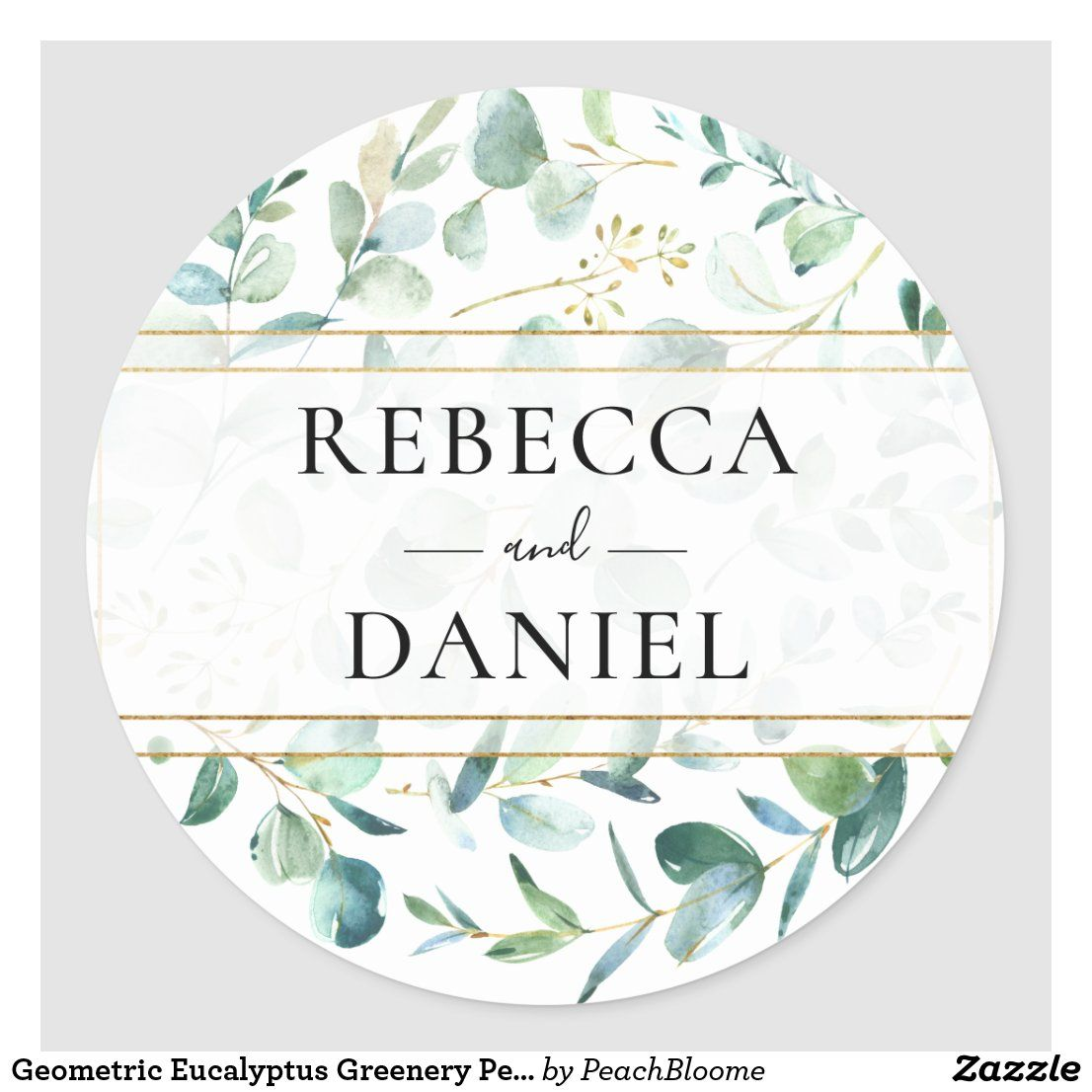 Geometric Eucalyptus Greenery Personalized Wedding Classic Round Sticker Zazzle Com In 2020 Wedding Classic Personalized Wedding Wedding Favor Stickers