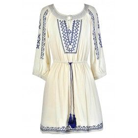 Cute Blue and Ivory Dress, Blue and Cream Dress, Blue and Ivory Summer Dress, Blue and Cream Summer Dress, Blue and Ivory Embroidered Dress, Blue and Cream Embroidered Dress