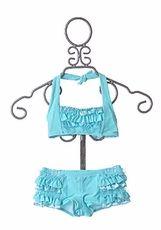 Girls' Kate Mack Aqua Ruffle Boyshorts Bikini