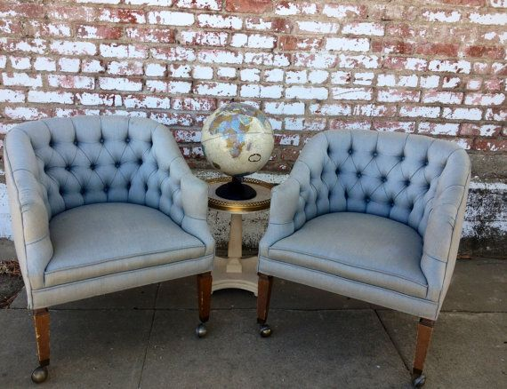 Pair Of Vintage Light Powder Blue Tufted Barrel Chairs With Wheels   For  The Living Room (in Front Of Fireplace)
