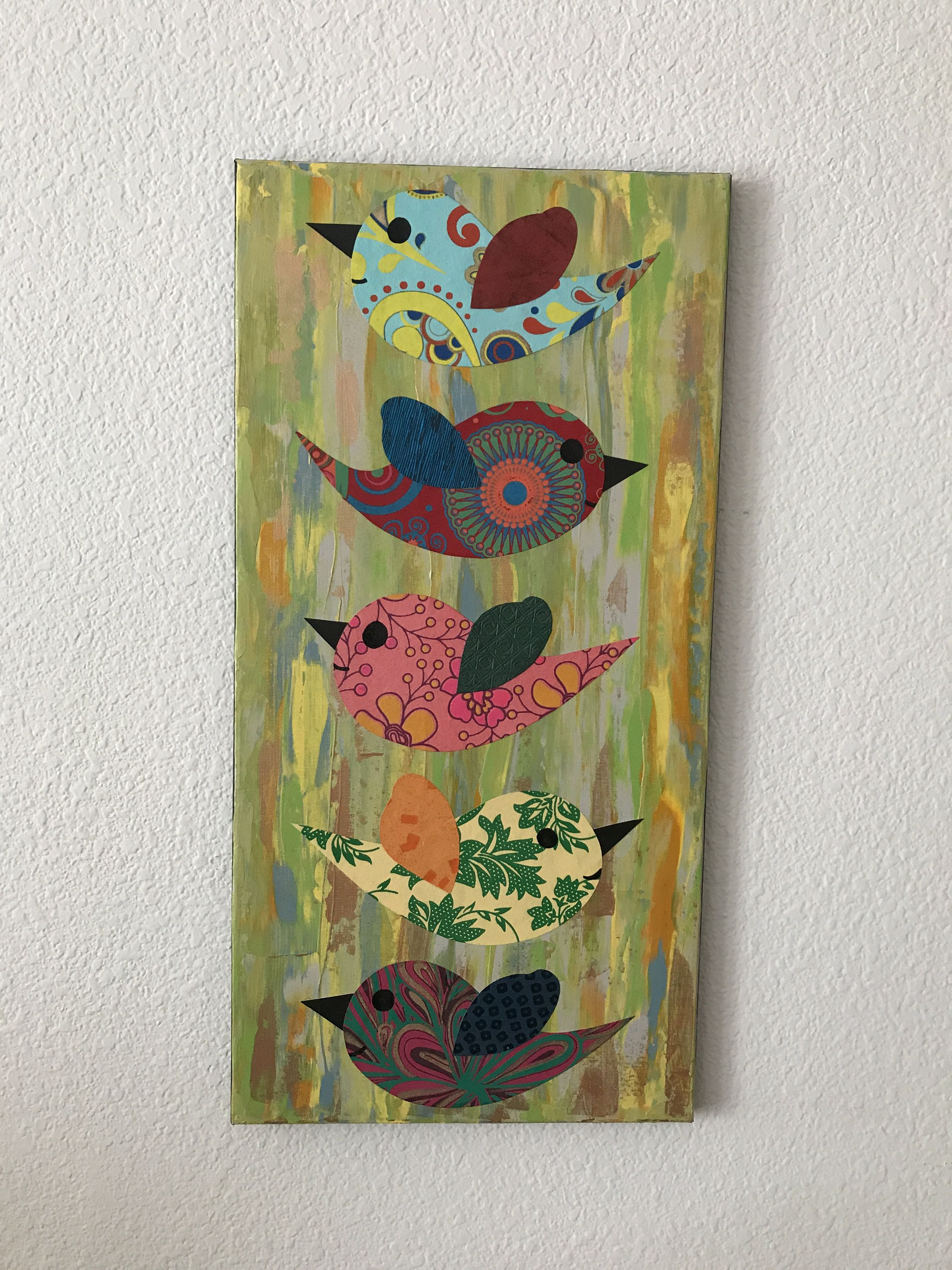 Paper collage mixed media art colorful birds golden home decor abstract painting wall also rh pinterest