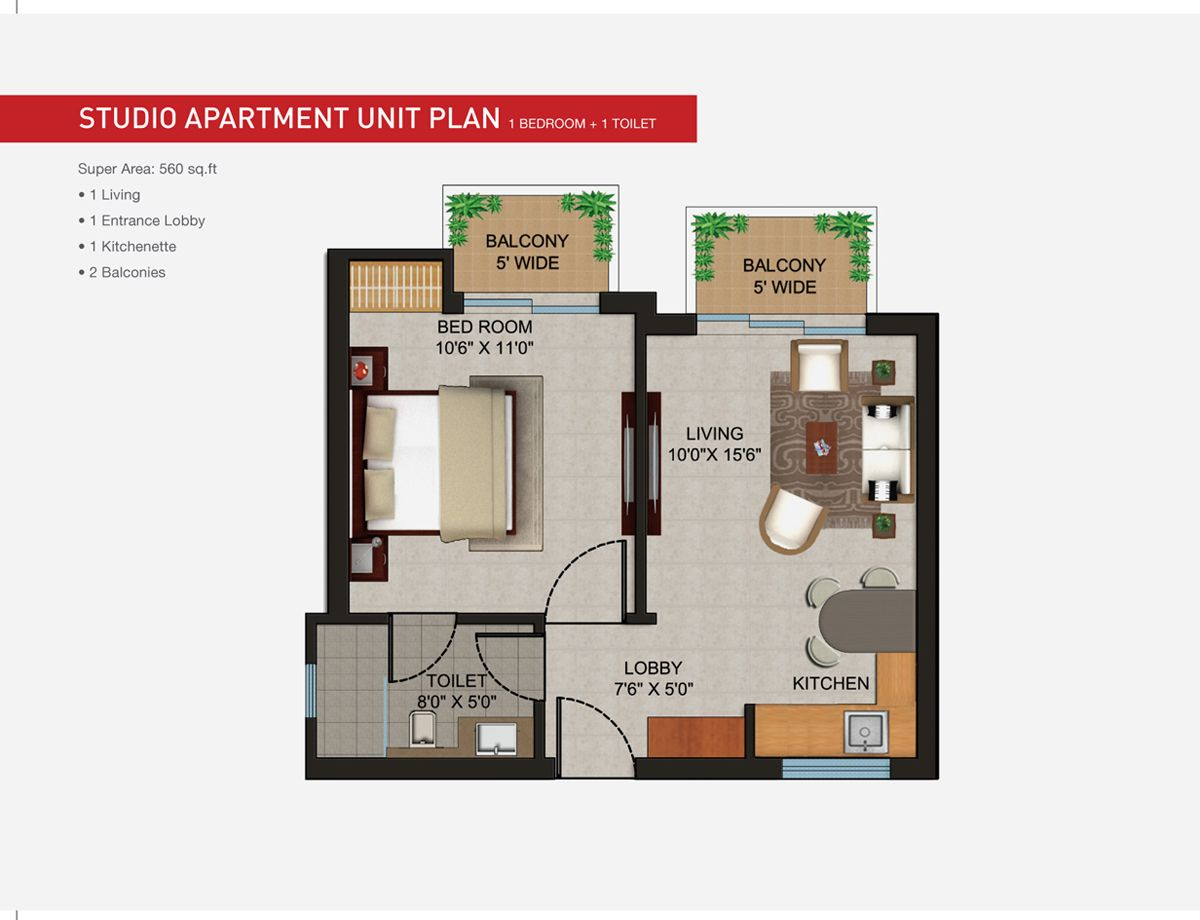 Apartments 560 sqft studio apartment unit floor plan for Apartment design layout