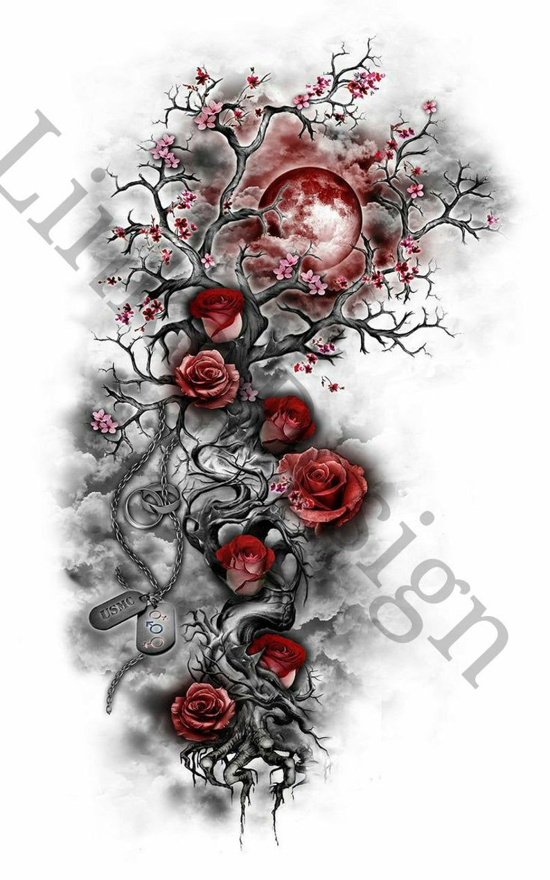 Rose Cherry Blossom Tree And Skull Waterslide Decal For Tumblers Tree Tattoo Designs Flower Tattoo Designs Moon Tattoo