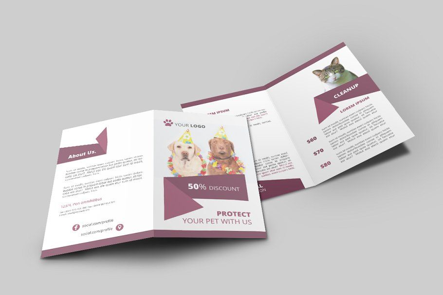 Pet Shop Bi Fold Brochure In 2020 Bi Fold Brochure Brochure
