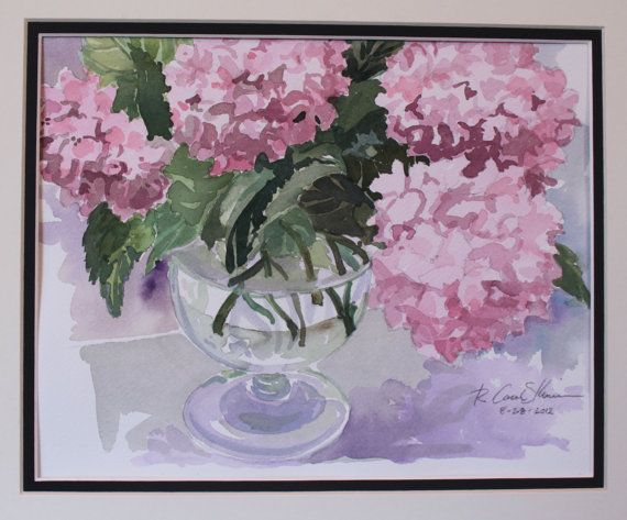2012 Pink Hydrangea a watercolor by R by UglyDucklingAntiques, $150.00